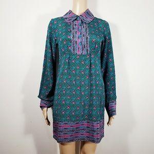 Anna Sui Blue Silk Shift Dress